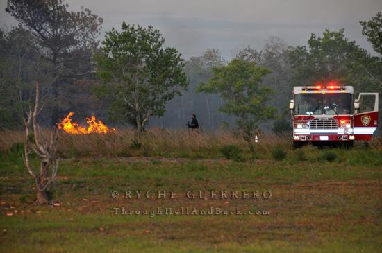 Brush Fire George Bush Park Addicks Reservoir Westheimer Parkway